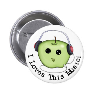 I Loves This Music Green Apple Pinback Button