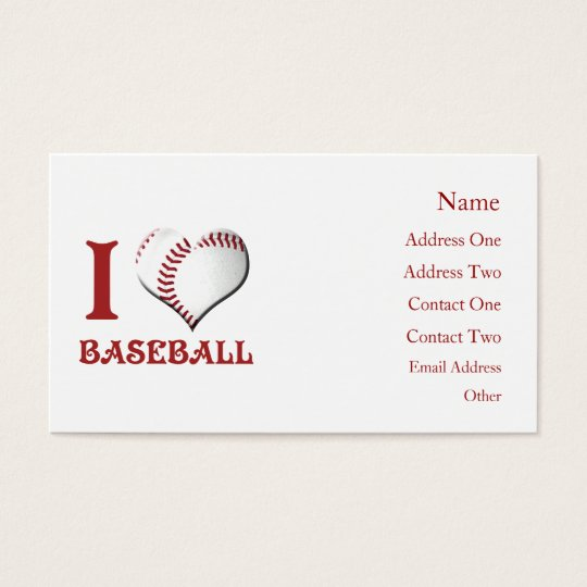 I Luv Baseball Business Card