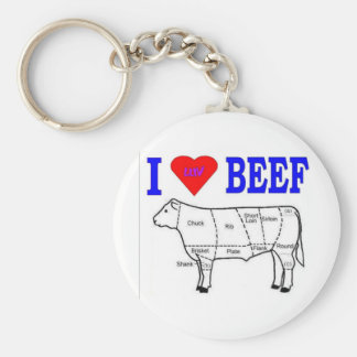 I LUV BEEF BASIC ROUND BUTTON KEY RING