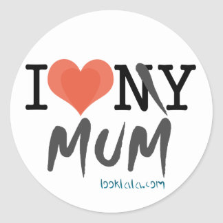 I luv my mum round sticker