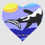 I Luv the Sun Orca Whale heart sticker