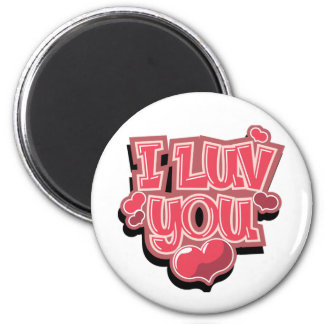 I Luv You 6 Cm Round Magnet