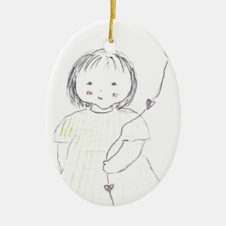 I luv you balloon (mother's day) ceramic oval decoration