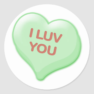 I Luv You Candy Heart Round Sticker