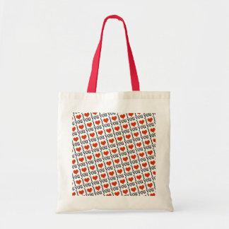 i luv you pattern design budget tote bag
