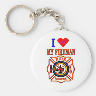 I LUY MY FIREMAN KEY RING