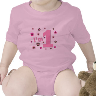 I m 1 Pink And Brown Flowers Birthday Baby Creeper