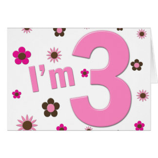 I m 3 Pink Brown Flowers Cards