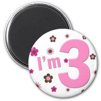 I m 3 Pink Brown Flowers Fridge Magnet