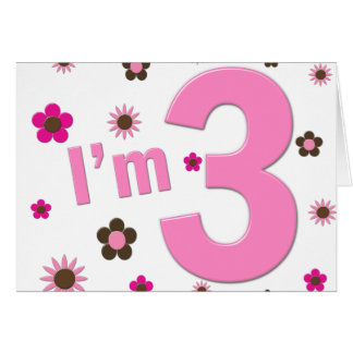 I m 3 Pink Brown Flowers Greeting Card