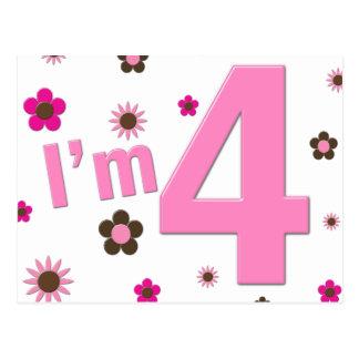 I m 4 Pink Brown Flowers Postcards