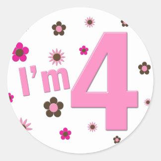 I m 4 Pink Brown Flowers Round Stickers