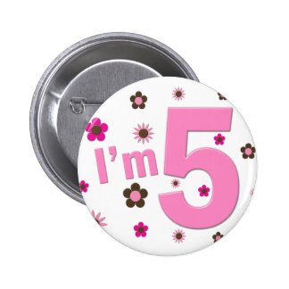 I m 5 Pink And Brown Flowers Button