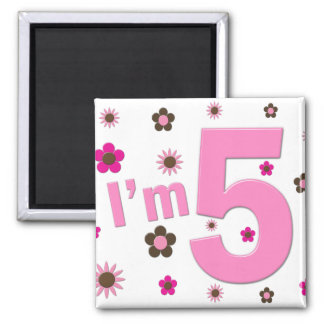 I m 5 Pink And Brown Flowers Magnets
