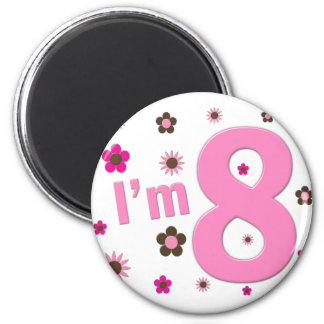 I m 8 Pink And Brown Flowers Refrigerator Magnet