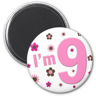 I m 9 Pink And Brown Flowers Magnets