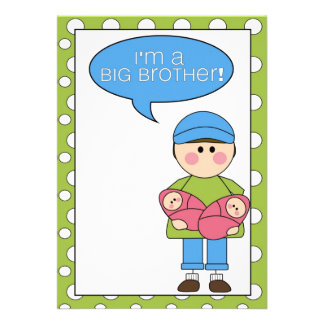 i m a big brother twin sisters personalized invitations