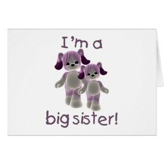 I m a big sister purple puppies greeting card