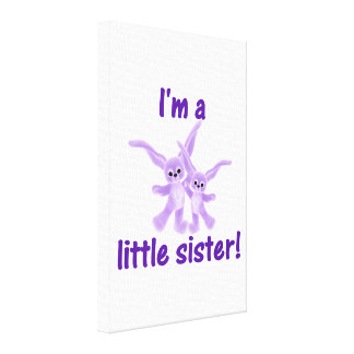 I m a little sister purple bunnies canvas prints