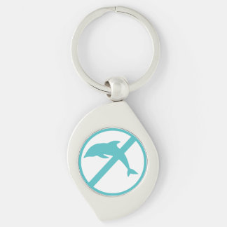 I'm a marine biologist and i hate dolphins Silver-Colored swirl key ring
