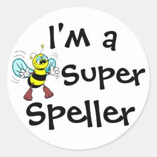 I m A Super Speller Round Stickers