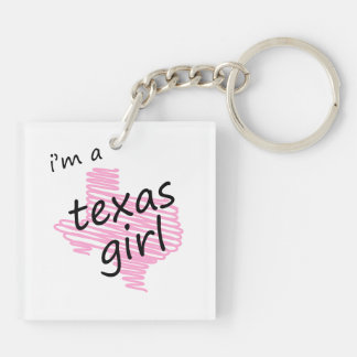 I m a Texas Girl Square Acrylic Keychain