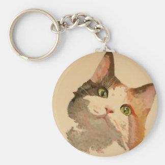I m All Ears Calico Cat Portrait Key Chains