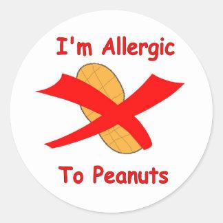 I m Allergic to Peanuts Stickers white