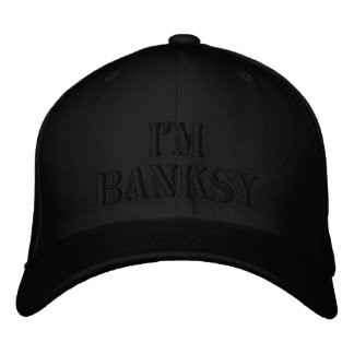 I m Banksy Stencil Basic Black Flexfit Wool Cap Embroidered Baseball Cap