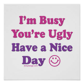 I m Busy You re Ugly Have a Nice Day Poster