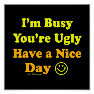 I m Busy You re Ugly Have a Nice Day Posters