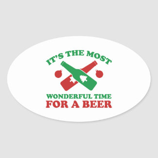 I'm Dreaming Of A Drunk Christmas Oval Sticker
