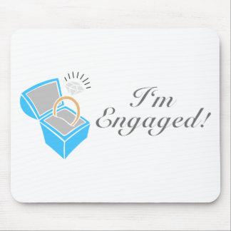 I m Engaged Diamond Engagement Ring Box Mouse Pads
