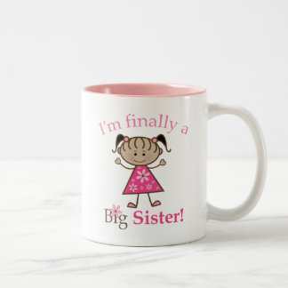 I m Finally a Big Sister Ethnic Stick Figure Girl Mugs