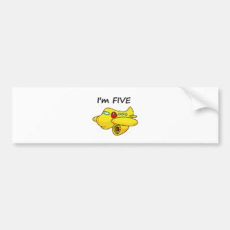 I m Five Yellow Plane Bumper Sticker