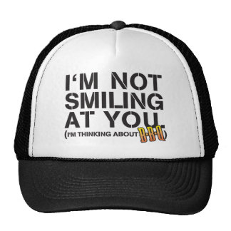 I m not smiling at you - white print hat
