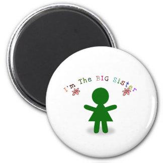 "I""m the big sister 6 cm round magnet"