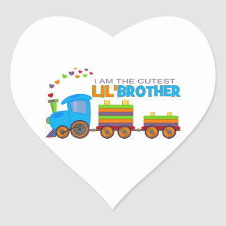 I m the cutest Lil Brother Heart Stickers