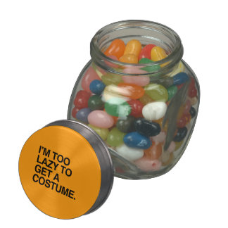 I M TOO LAZY TO GET A COSTUME - Halloween - png Glass Jar