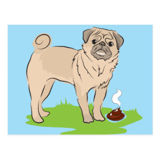 I made a present for you Pug dog poos Postcard