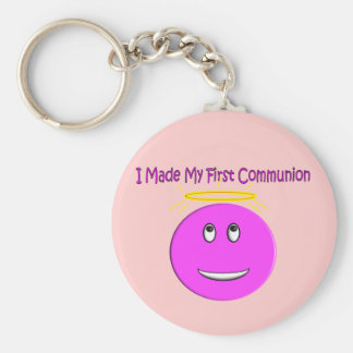 I Made My First Communion Big Pink Smiley Key Chains