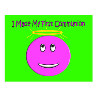 I Made My First Communion Big Pink Smiley Postcard