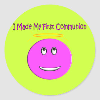 I Made My First Communion Big Pink Smiley Round Stickers