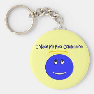 I Made My First Communion Blue Smiley Basic Round Button Key Ring