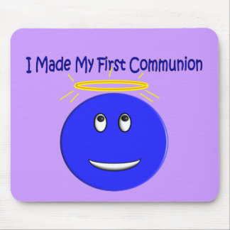 I Made My First Communion Blue Smiley Mouse Pads