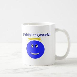 I Made My First Communion Blue Smiley Classic White Coffee Mug