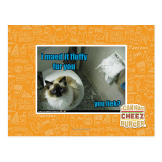 I maed it fluffy fur you postcard