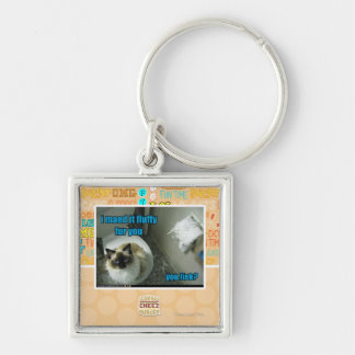 I maed it fluffy fur you Silver-Colored square key ring