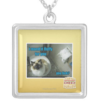 I maed it fluffy fur you silver plated necklace