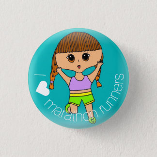 I ♥ Marathon Runners Button